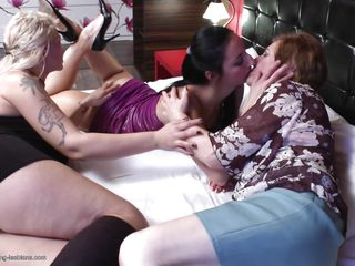 two mature lesbians having fun with a sexy milf