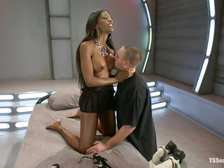 sensual tall ebony shemale and her obedient white man