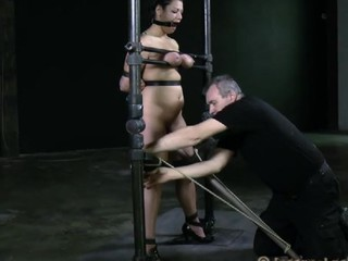 Disobedient complain with huge melons is being tortured in a sexual way