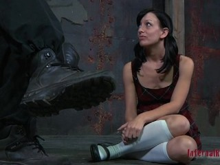 Beautiful chick has got chained in bondage by her BDSM master