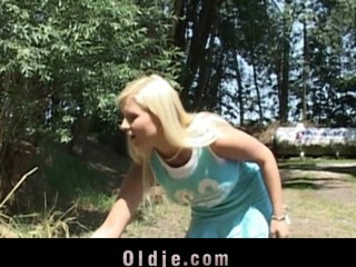 Old stud Joe fucking breasty golden-haired legal maturity teenager