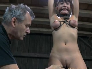 Bound up chick gets her cookie lips opened up for lusty punishment