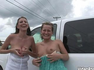 Wild college girls flash little tits in public