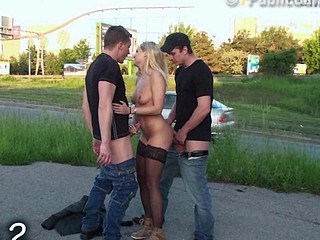Cute blonde STREET sex PUBLIC gangbang Part 2