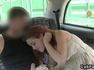 Red haired babe needs a cock in a railway carriage