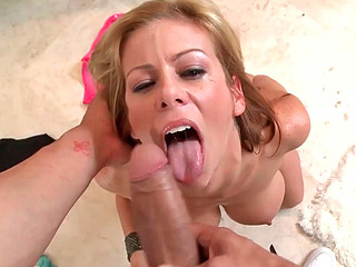 Alexis Fawx on her knees performing really hot blowjob