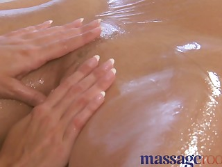 Massage Rooms Sexually Excited and oiled lesbo act with large love muffins