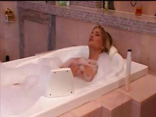 Blonde Sarah takes a bath and gets dressed to go out and fuck