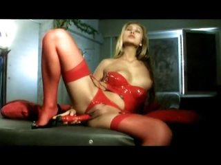 Sexy as hell in red latex lingerie set