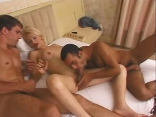 Golden-haired with perky tits and two men