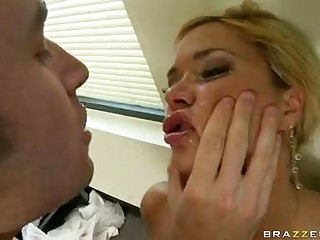 Blonde pornstar with big melons in black thong sucks hard cock