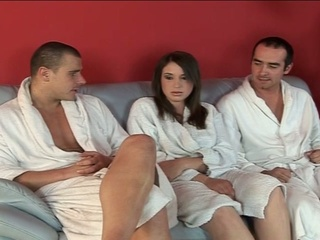 Busty white non-professional with big boobs gets nailed in threesome