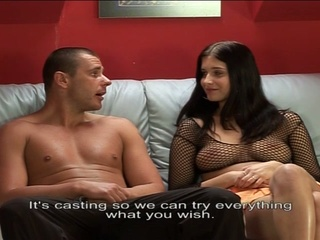 Teen busty brunette hair tries out on european porn auditions