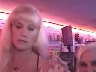 Two aged blonde grannies Kandi and Victoria talked into sucking cock through the gloryhole
