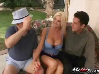 Blonde MILF, Lori Pleasure gets fucked by one dude whilst 2 others watch