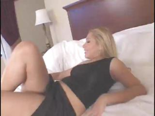 Blonde Latina playgirl Sasha Sans sucks and fucks a big black dick