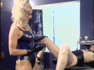 Breasty Blonde Goddess Shaves and Tortures Her Sex Slave's Pussy
