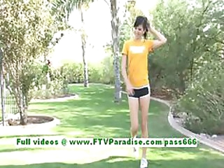 Smoking Hot Brunette Teen Undresses From Her Sporty Outfit Outdoors