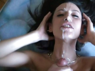 Lusty wench loves getting her face splattered with cum