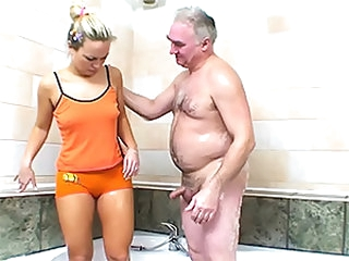 Hot Blond Sucks and Copulates an Older Man's Small Dick