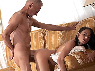 Cute Brunette hair Teen Gets Fucked and Facialized By an Old Fart