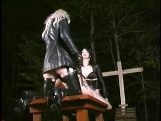 Two Femdoms strapon fuck slave outside