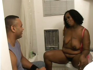 Hot Ebony Fattie Dimples Gets Her Pussy Hairless and Her Face Jizzed On