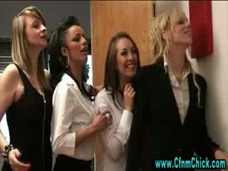 Dirty cfnm schoolgirls acquire hot
