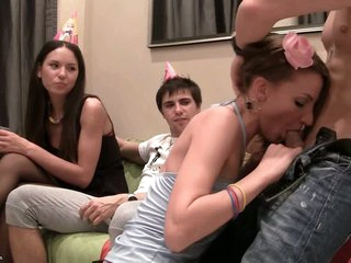These horny students engulf ramrod at a birthday party