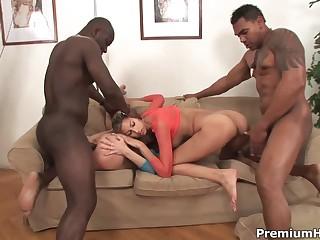 Two black guy fuck two white sluts