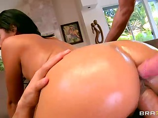 Delicious latina Cassandra Cruz bares her perfect big bubble butt and juicy pussy in front of the camera before great double penetration. After tease she finds her ass and pussy stuffed at once.