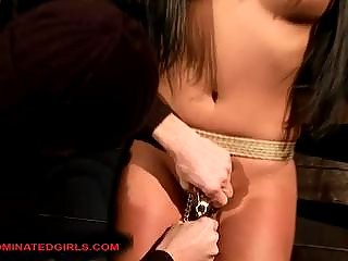 Busty brunette Amanda Bleack tortured and drilled