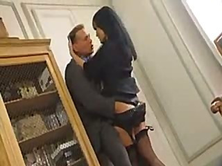 Busty brunette office babe gets fucked in a quick hit and run
