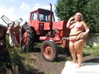 fat blonde farmgirl has threesome