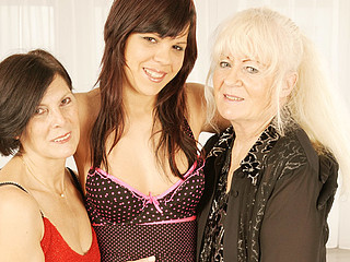 Three nasty old and juvenile lesbian babes to hand play