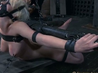 Chained up playgirl gets doggystyle plowing from tormentor