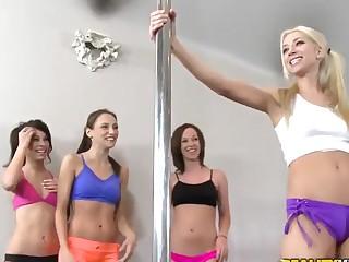 Celeste Star,  Jada Stevens,  Riley Jensen,  Sammie Rhodes have a pole dance lesson