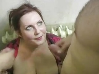 Busty Russian MILF owned by two neighbors on the stairs