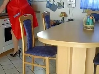 Granny fisted and banged on a scullery table