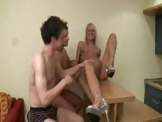 Two boyz fist-fuck a German blondie in advance of putting their cocks in her holes