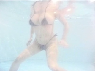 Big tits japanese milf in pool while boyfriend jerking off his dong