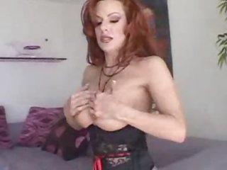 Corset redhead milf sucks black cock