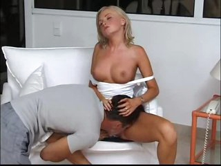 Receive into foreplay with a busty golden-haired