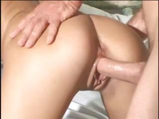 Busty golden-haired MILF hangs from the canopy and gets fucked hard