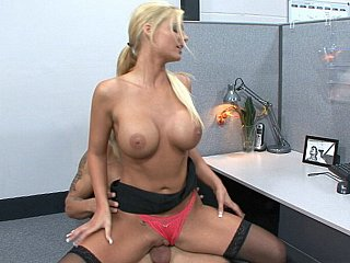 Hawt blonde Phoenix Marie cock rides her coworker