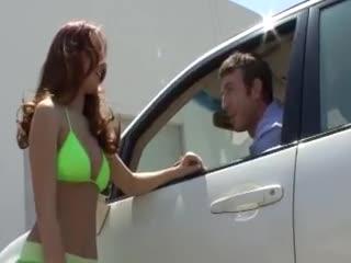 Hottie washes his car in bikini
