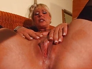 Mature blond enjoys her own body - DBM Video