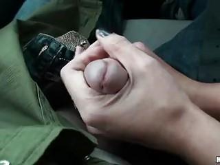 Randy brunette pornstar sucks hard cock in the car