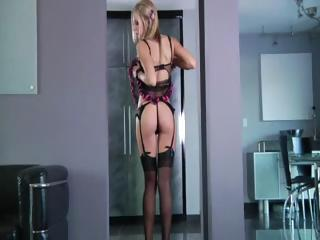 Blonde shows her ass and that's right where he puts his cock