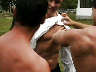 Three sexy gays sucking and fucking